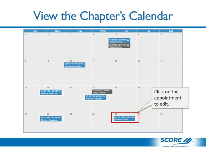 View the Chapter's Calendar