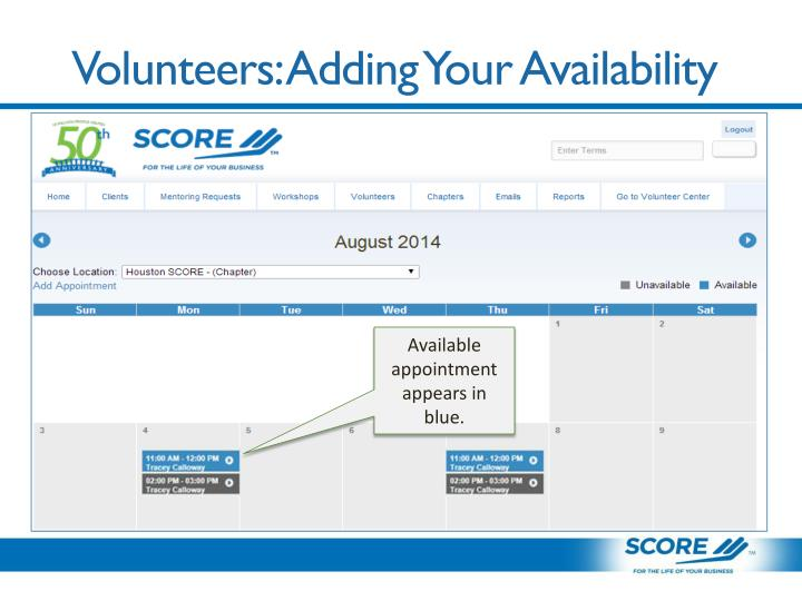 Volunteers: Adding Your Availability