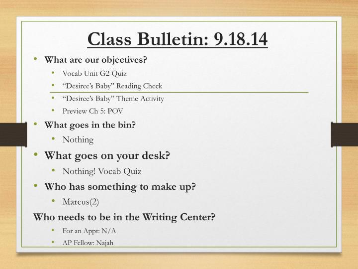 Class Bulletin:
