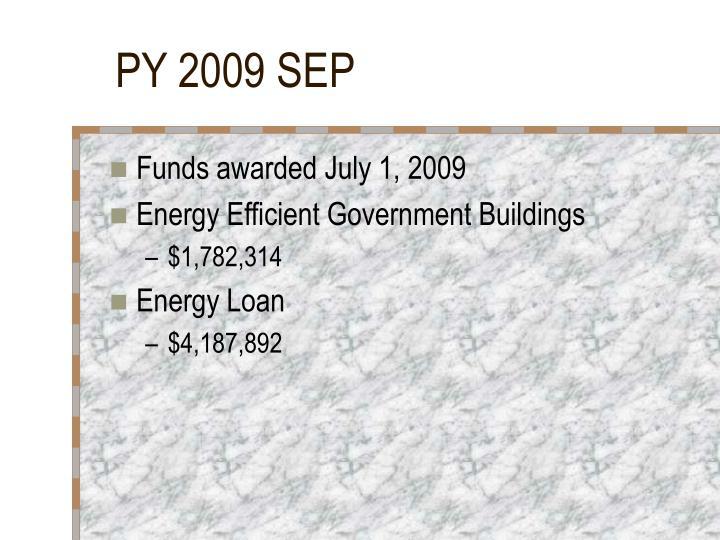 PY 2009 SEP