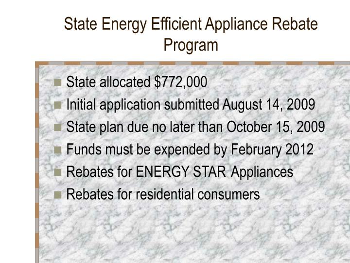State Energy Efficient Appliance Rebate Program