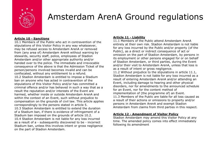 Amsterdam ArenA Ground regulations