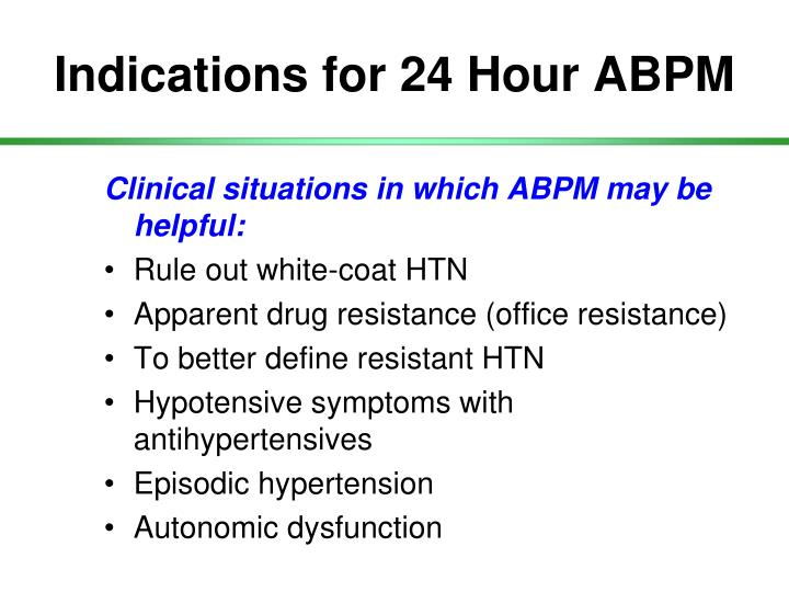 Indications for 24 Hour ABPM