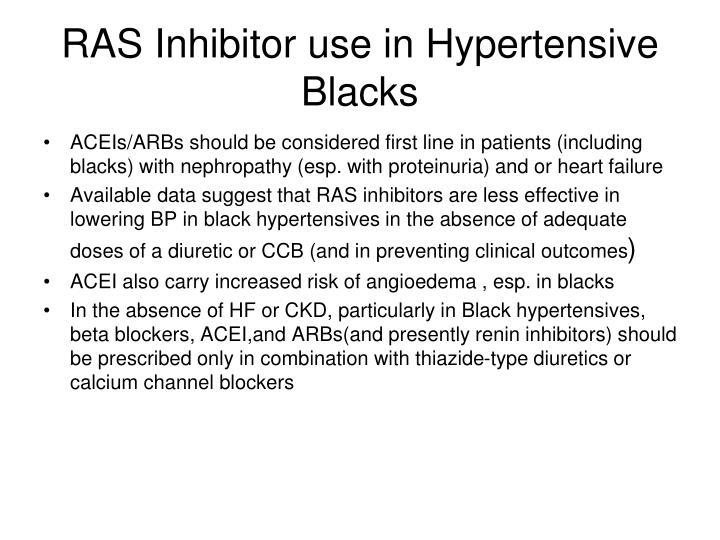 RAS Inhibitor use in Hypertensive Blacks