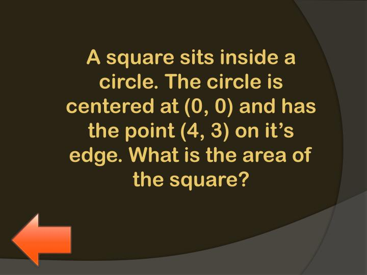 A square sits inside a circle. Th