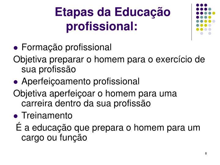 Etapas da Educação profissional: