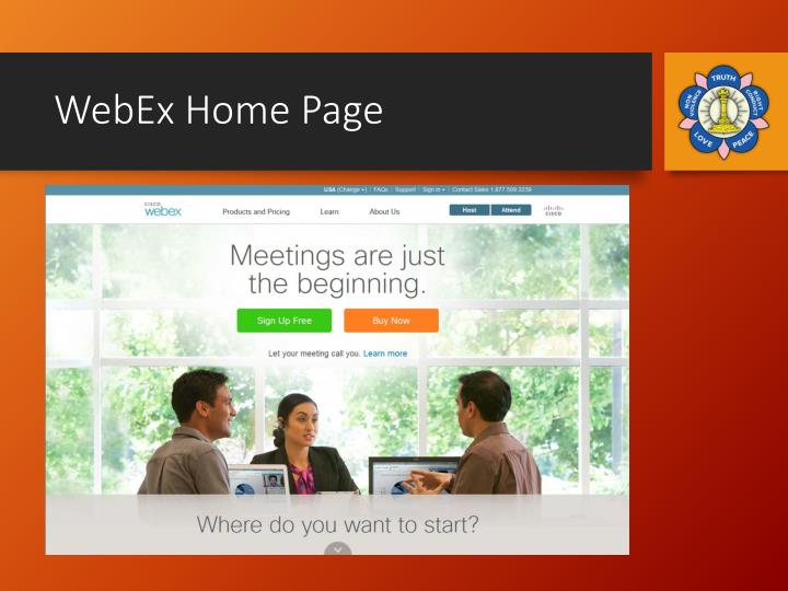 WebEx Home Page
