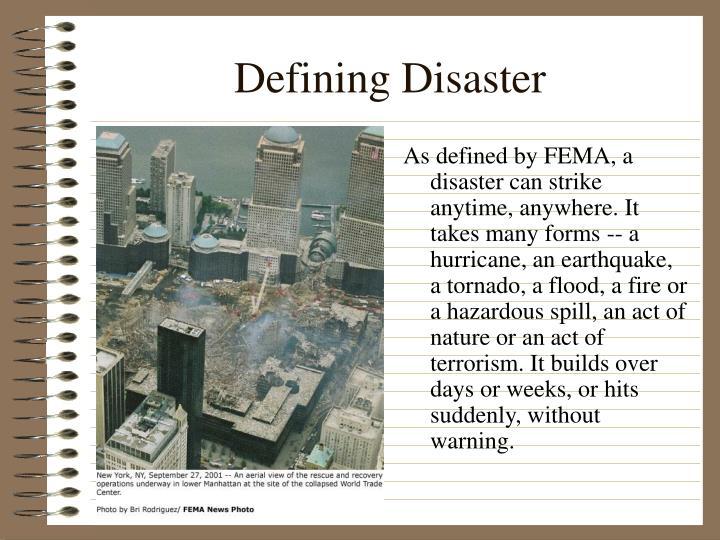 Defining Disaster