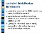 anti theft initialization information