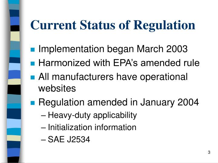 Current Status of Regulation