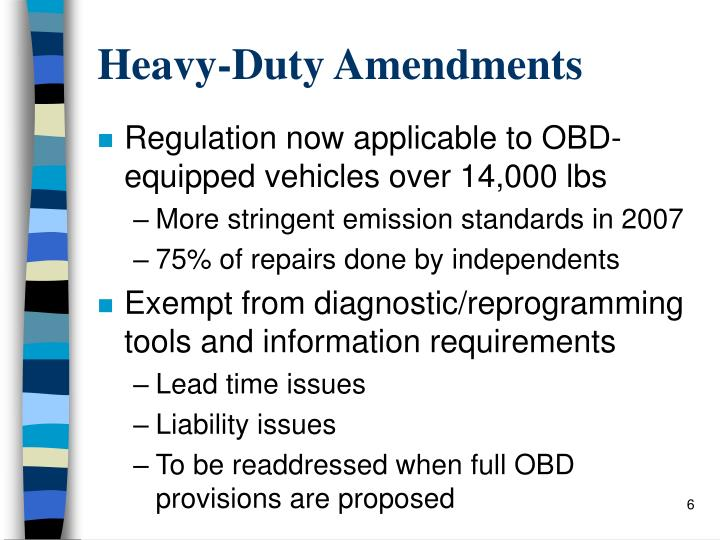 Heavy-Duty Amendments
