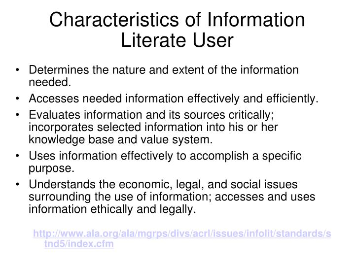 Characteristics of Information Literate User