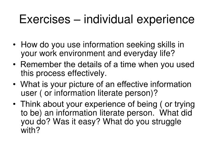 Exercises – individual experience