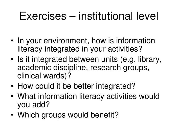 Exercises – institutional level