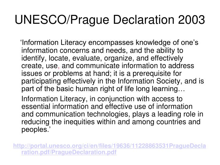 UNESCO/Prague Declaration 2003