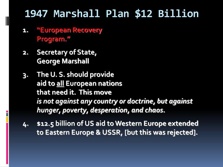 1947 Marshall Plan $12 Billion