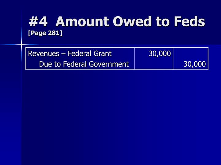 #4  Amount Owed to Feds