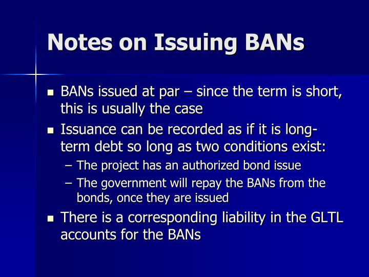 Notes on Issuing BANs