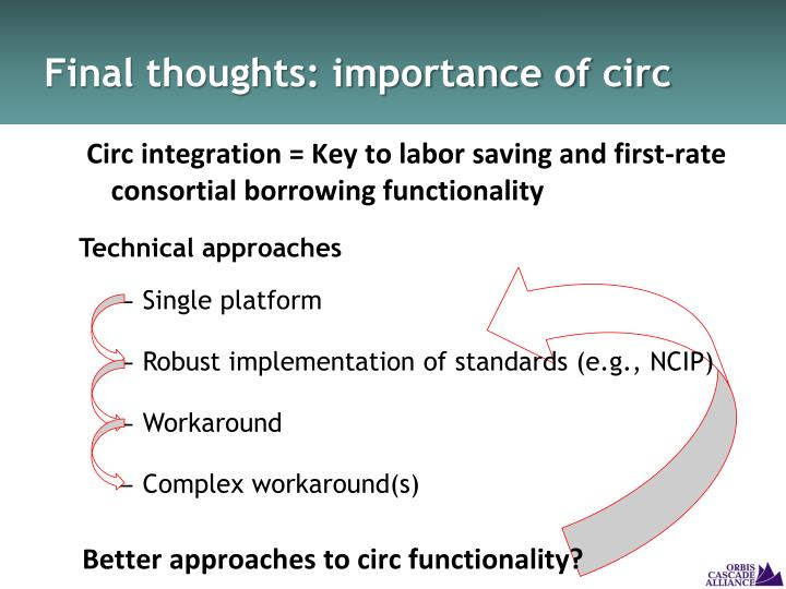 Final thoughts: importance of circ