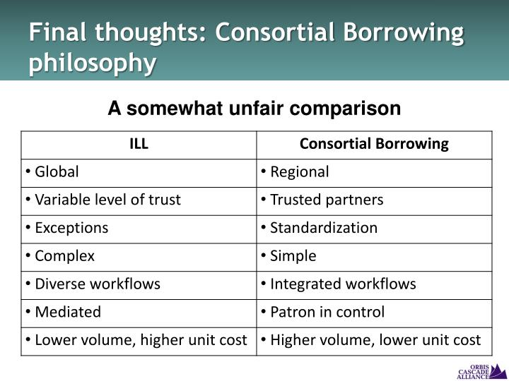 Final thoughts: Consortial Borrowing philosophy
