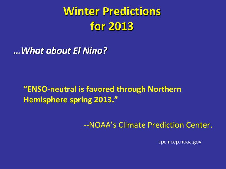 Winter Predictions