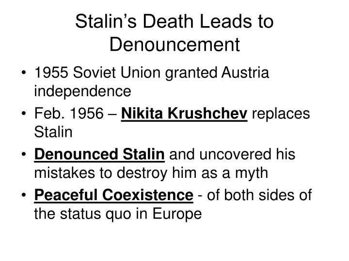 Stalin's Death Leads to Denouncement