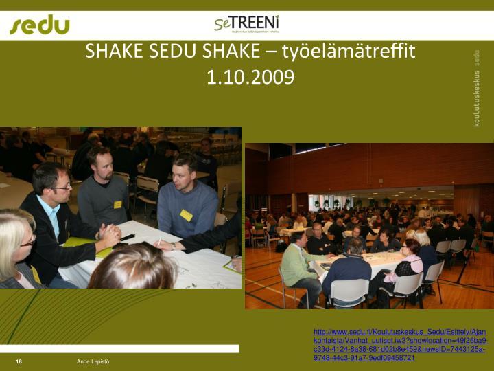 SHAKE SEDU SHAKE – työelämätreffit   1.10.2009
