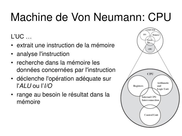 Machine de Von Neumann: CPU