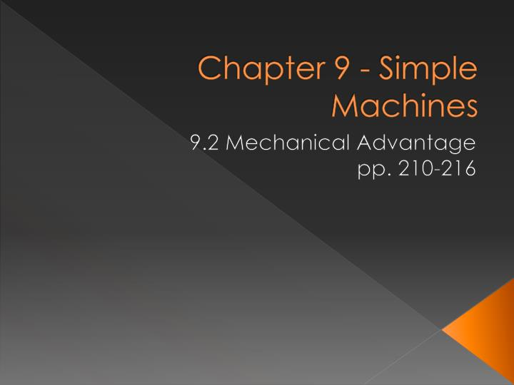 Chapter 9 - Simple Machines