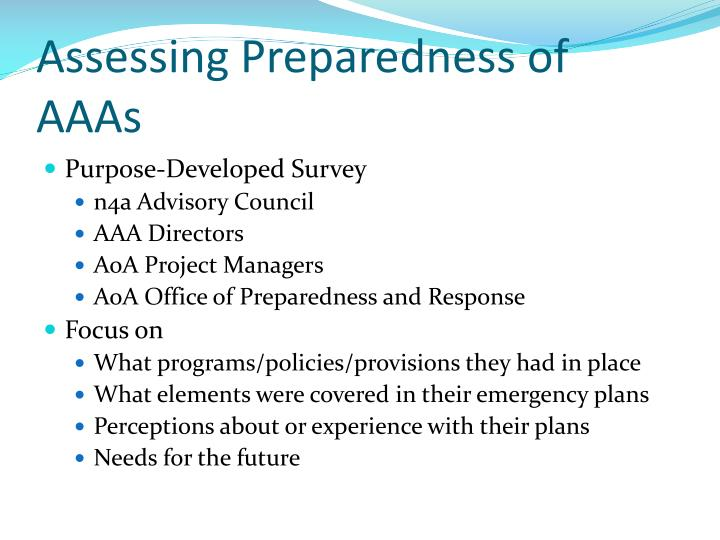 Assessing Preparedness of AAAs