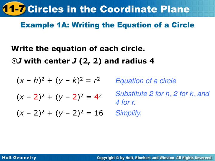 Example 1A: Writing the Equation of a Circle