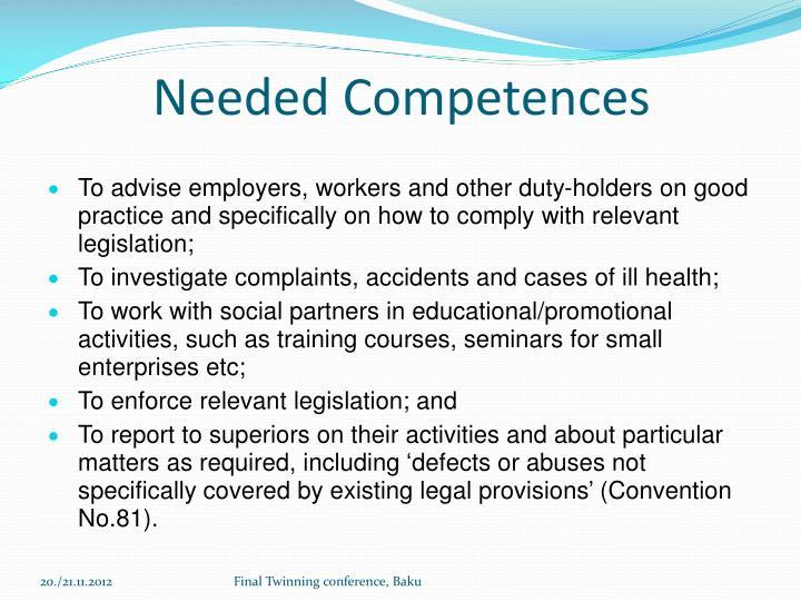 Needed Competences