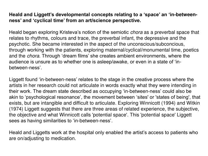 Heald and Liggett's developmental concepts relating to a 'space' an 'in-between-ness' and 'cyclical time' from an art/science perspective.