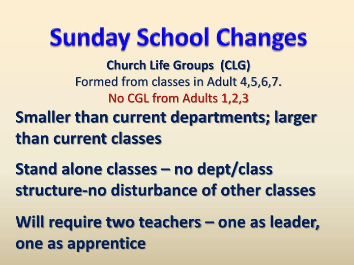 Sunday School Changes