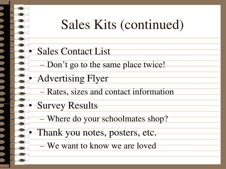 Sales Kits (continued)