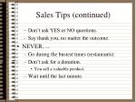 sales tips continued