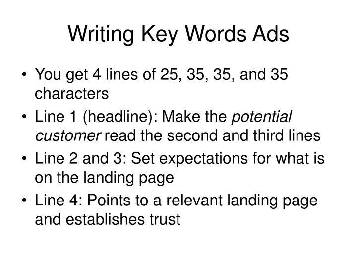 Writing Key Words Ads