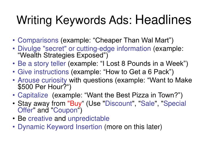 Writing Keywords Ads: