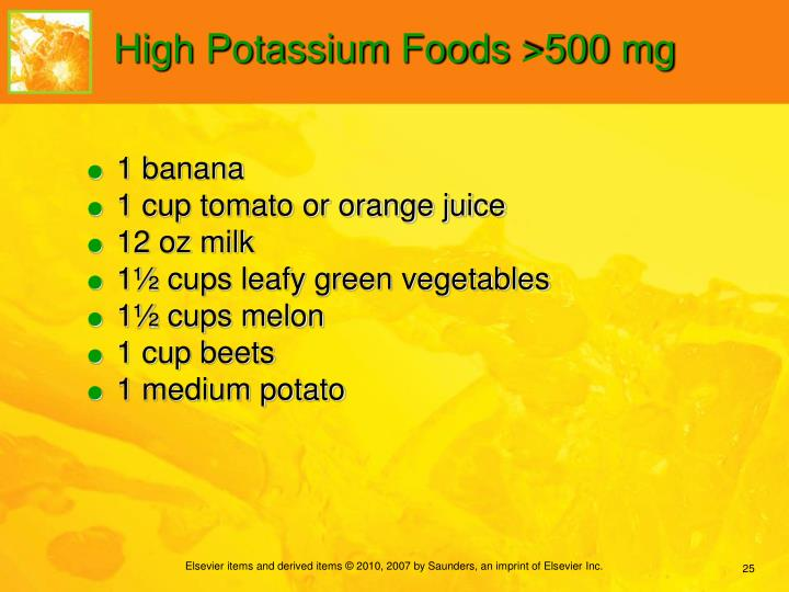 High Potassium Foods >500 mg