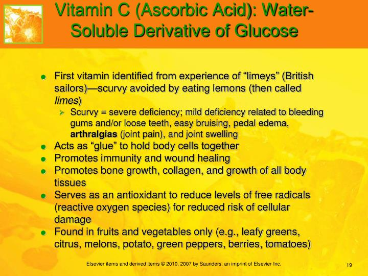 Vitamin C (Ascorbic Acid): Water-Soluble Derivative of Glucose
