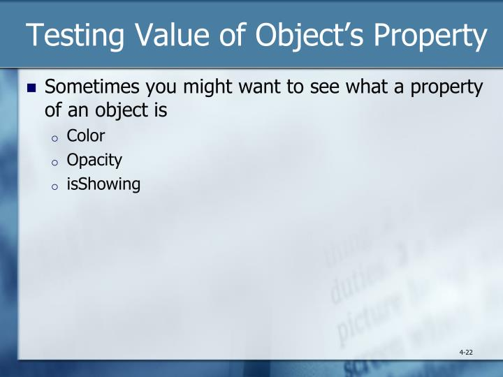 Testing Value of Object's Property