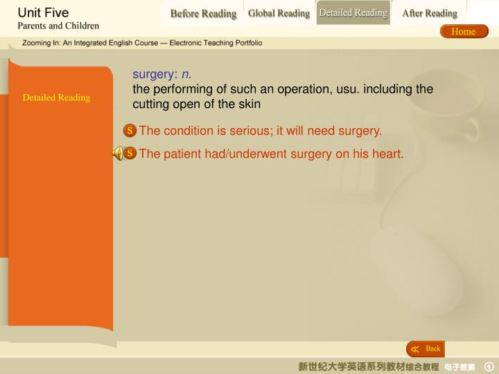 surgery: