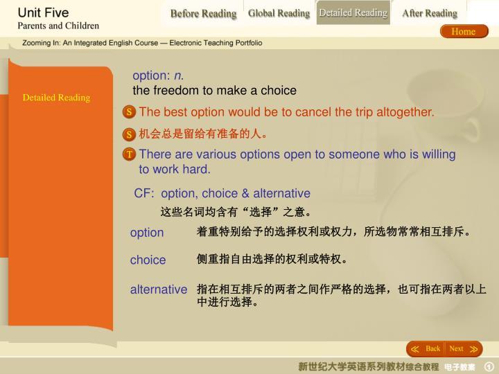CF:  option, choice & alternative