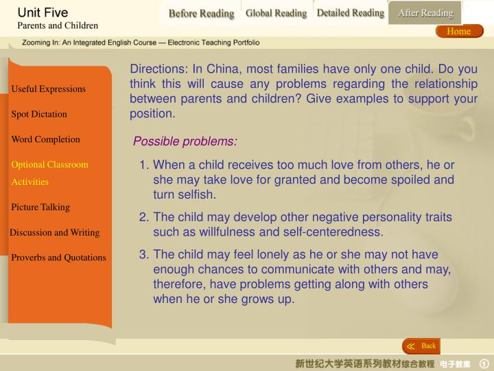 Directions: In China, most families have only one child. Do you think this will cause any problems regarding the relationship between parents and children? Give examples to support your position.