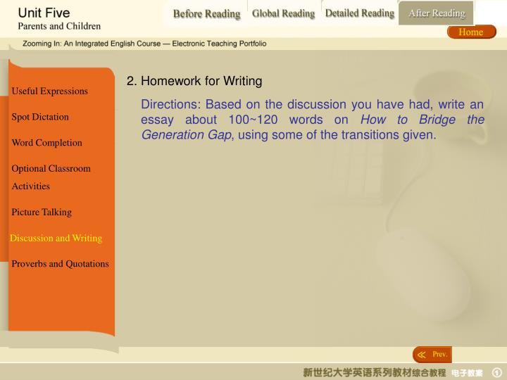 2. Homework for Writing
