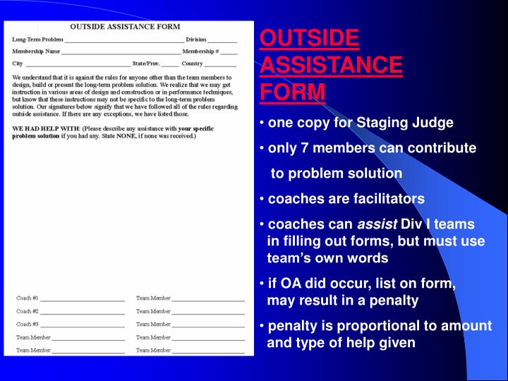 Outside Assistance Form