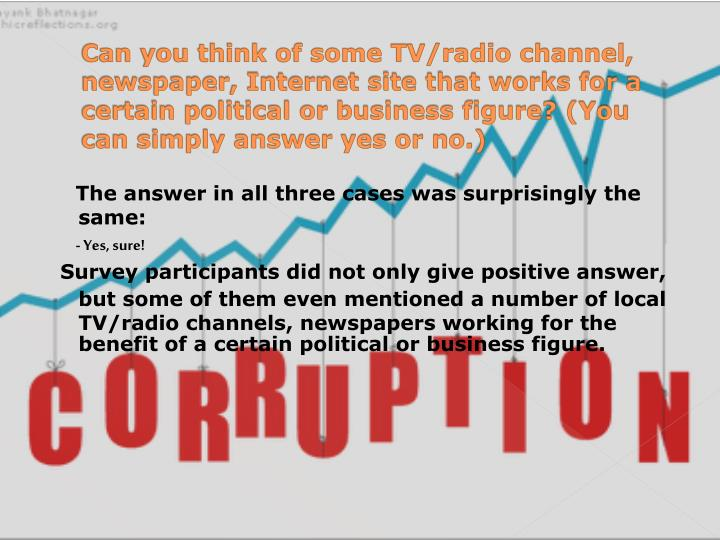 Can you think of some TV/radio channel, newspaper, Internet site that works for a certain political or business figure? (You can simply answer yes or no.)