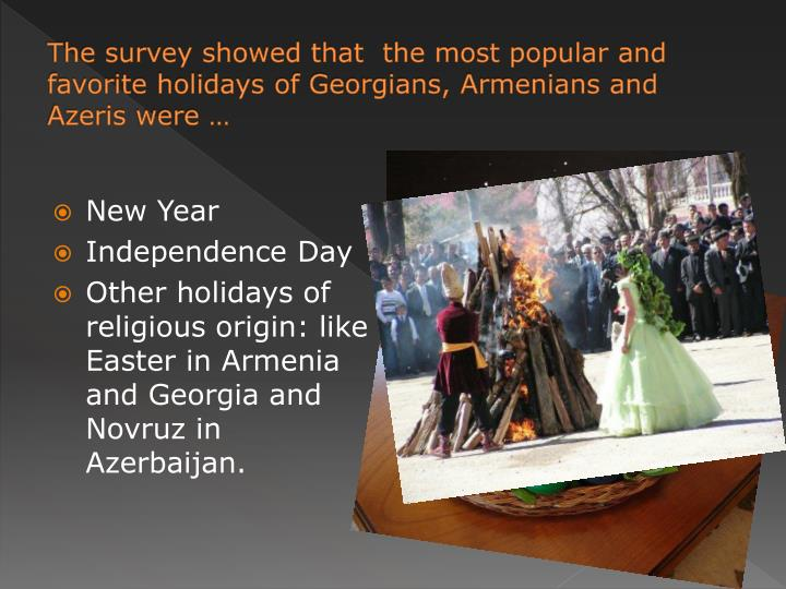 The survey showed that  the most popular and favorite holidays of Georgians, Armenians and