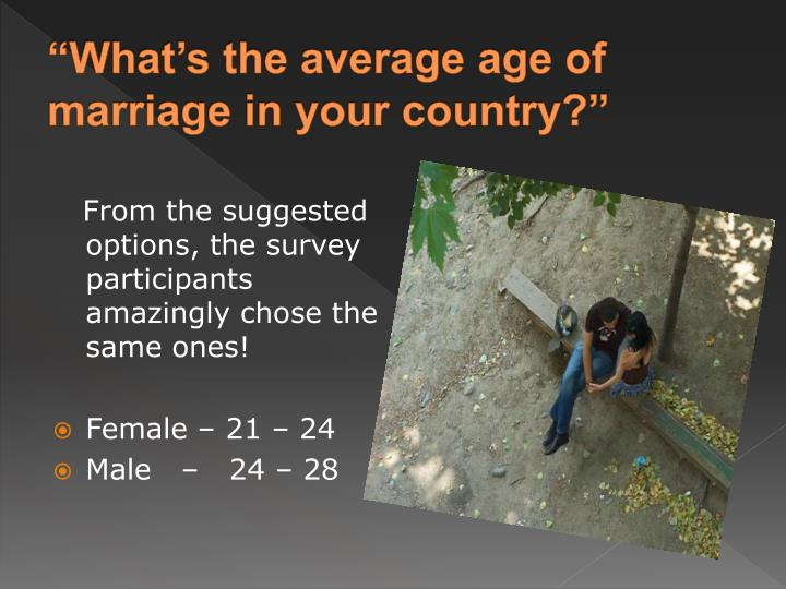 """What's the average age of marriage in your country?"""