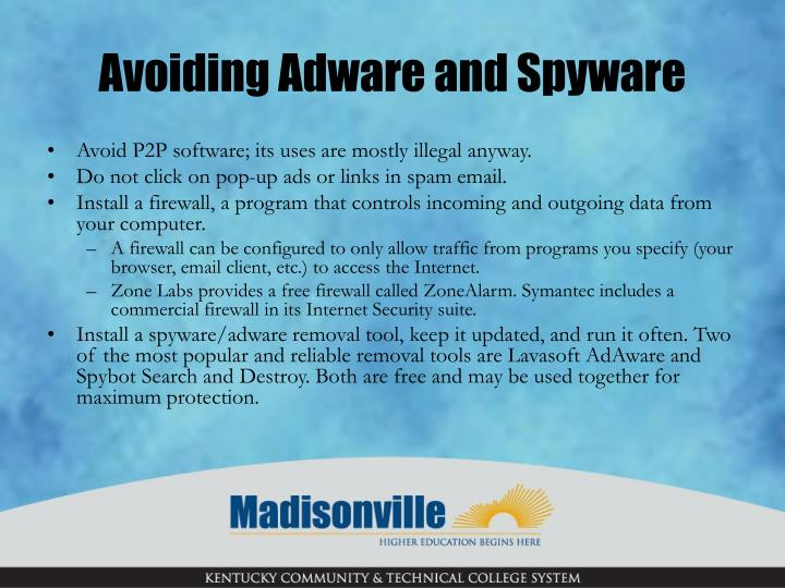 Avoiding Adware and Spyware